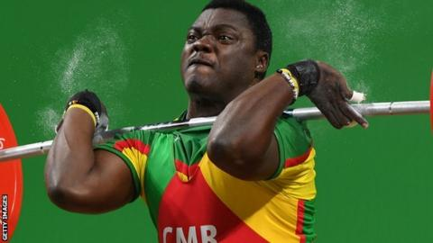 Weightlifter Petit Minkoumba in action at Rio 2016