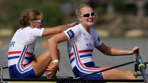 Polly Swann (right) enjoyed great success in the coxless pairs with Helen Glover