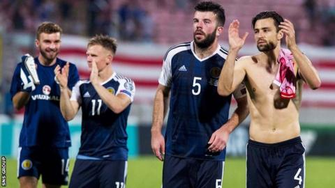 Scotland players applaud the Tartan Army at full-time