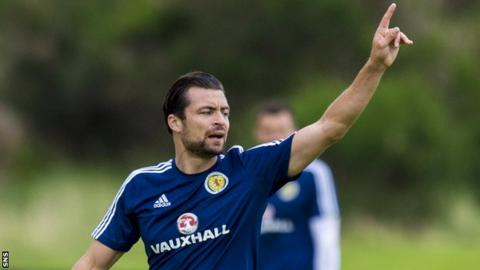 Russell Martin during Scotland training