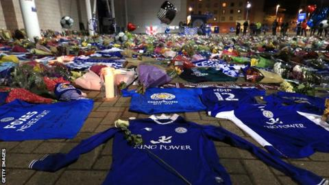 Tributes and flowers have been laid at Leicester City's King Power Stadium following the death of chairman Vichai Srivaddhanaprabha and four other people