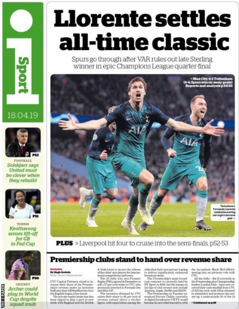Thursday's The i paper