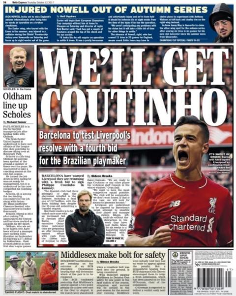 Coutinho also features on the back of the Daily Express
