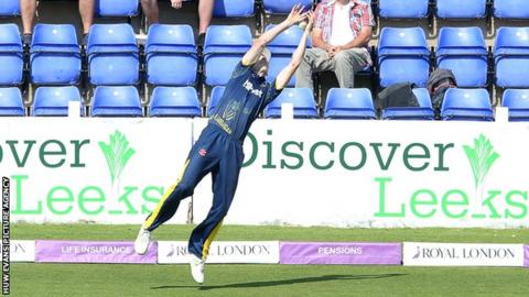 Middlesex's Eoin Morgan was caught on the boundary by Nick Selman of Glamorgan for 56