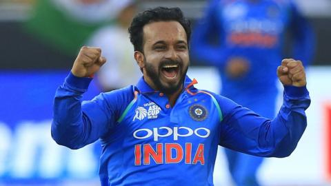 India all-rounder Kedar Jadhav celebrates a wicket against Pakistan
