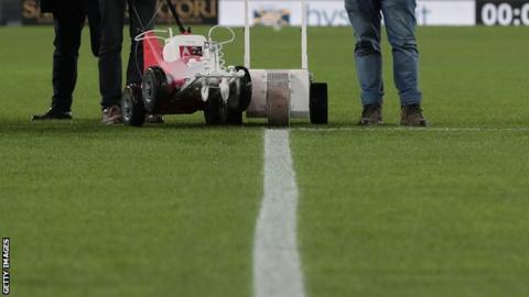 The penalty area line at Hellas Verona's stadium prior to their game against Genoa