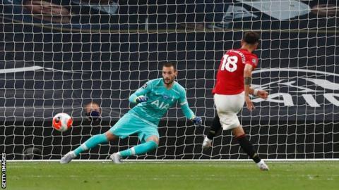Bruno Fernandes scores a penalty against Tottenham