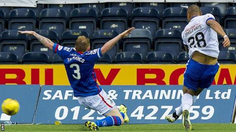 Josh Magennis (right) scores against Inverness Caledonian Thistle