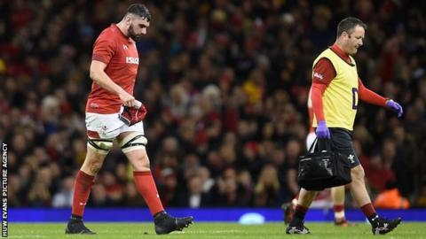 Cory Hill walks off the pitch during Wales' 34-7 win over Scotland