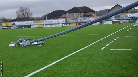 Floodlights at Aberystwyth football club