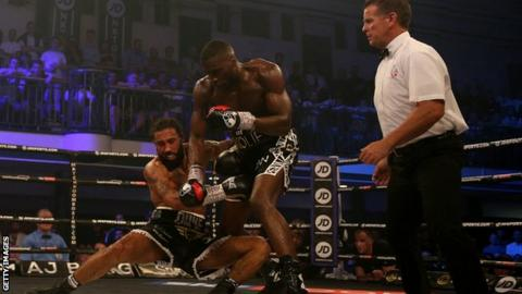 Okolie landed two right hands to end the contest