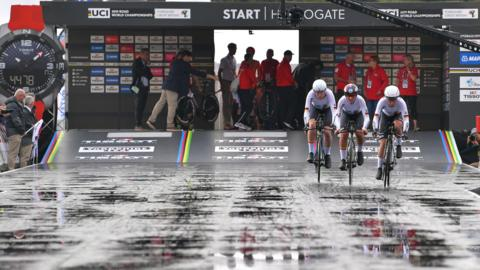 HARROGATE, ENGLAND - SEPTEMBER 22: Start / Lisa Brennauer of Germany / Lisa Klein of Germany / Mieke Kroger of Germany / during the 92nd UCI Road World Championships 2019, Team Time Trial Mixed Relay a 27,6km Men & Women Team Time Trial race from Harrogate to Harrogate / TTT / @Yorkshire2019 / #Yorkshire2019 / on September 22, 2019 in Harrogate, England. (Photo by Tim de Waele/Getty Images)