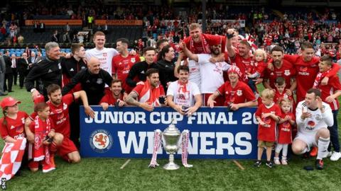 Glenafton Athletic celebrate with the Scottish Junior Cup, their second major trophy of the season