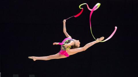27th July 2019, M&S Bank Arena, Liverpool, England; Rhythmic Gymnastics and Acrobatic Gymnastics 2019 British Championship Day Three; Erin Mcintosh, Finesse GC Junior Ribbon Individual (photo by Roger Evans/Action Plus via Getty Images)