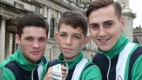 NI boxers James McGivern, Stephen McKenna and Aidan Walsh won gold medals at the 2015 Commonwealth Youth Games in Samoa