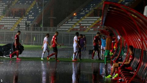 Rain at Albania v Macedonia