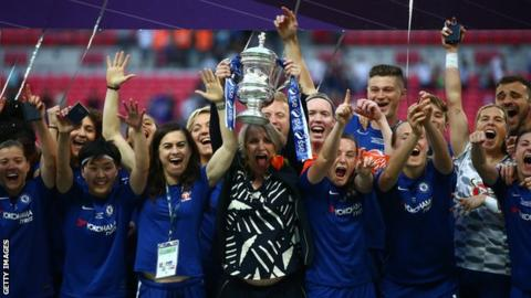 Chelsea celebrate winning the 2017-18 Women's FA Cup at Wembley