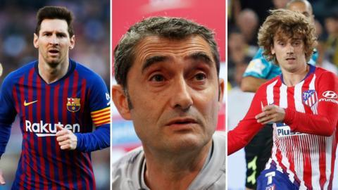 (Left to right) Lionel Messi, Ernesto Valverde and Antoine Griezmann