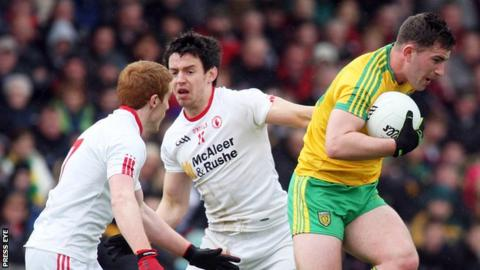 Peter Harte, Mattie Donnelly and Paddy McBrearty in action in this year's Ulster Championship game