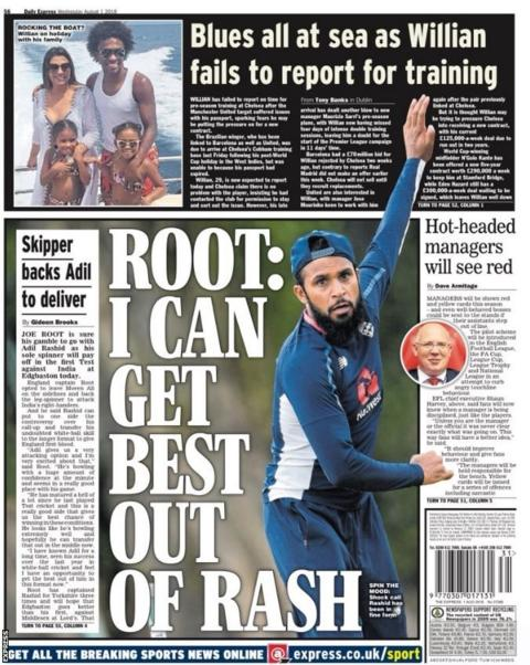 The Express back page on Wednesday