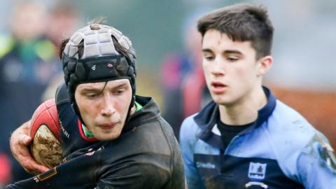 Ben McAlister in action against Strabane's Jamie Brown during Lurgan's 39-0 win over Strabane Academy in the second round of the Schools' Cup