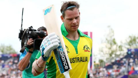Steve Smith walks off after scoring a hundred against England