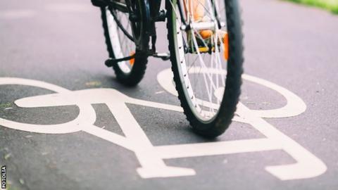 Cyclist on a path