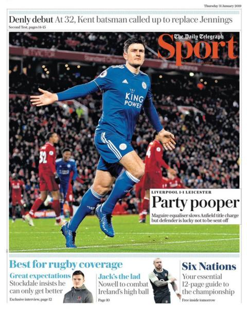 Telegraph back page on Thursday