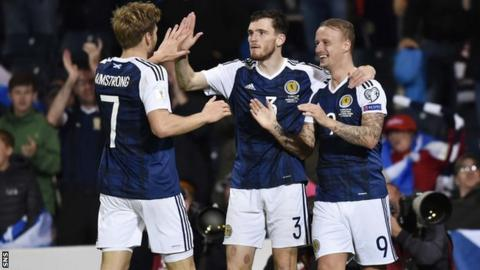 Scotland players celebrating a goal