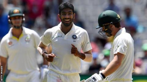 India bowler Jasprit Bumrah celebrates