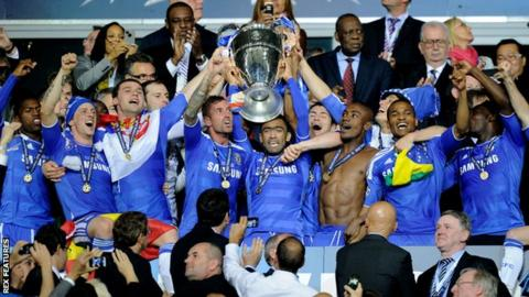 Chelsea lift the Champions League trophy