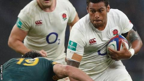 Nathan Hughes during his England debut against South Africa