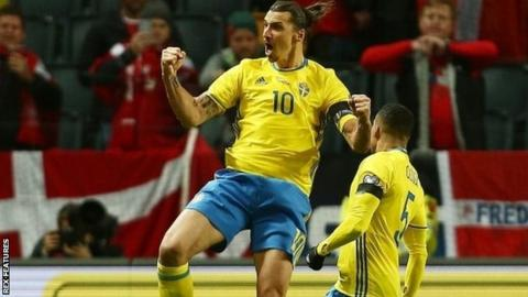 Zlatan Ibrahimovic celebrates scoring for Sweden