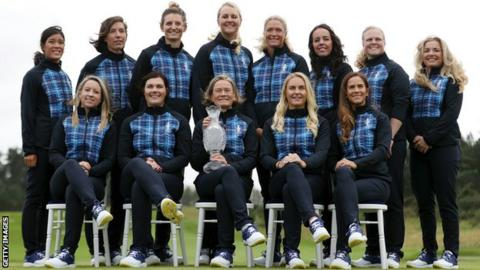 The Europe team with the trophy at Gleaneagles ahead of the 2019 Solheim Cup