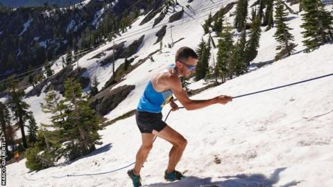 Andy Douglas had to haul himself up climbs using a rope at the Broken Arrow Skyrace