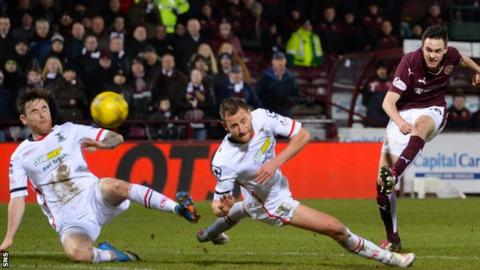Hearts' Liam Smith goes close with a shot