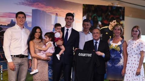 Thibaut Courtois and his family at his signing for Real Madrid