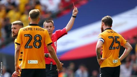 Mark O'Brien being sent off
