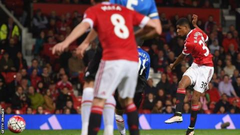 Manchester United striker Marcus Rashford scores the second against Bournemouth