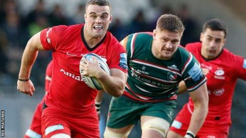 Ben Earl ran in the second of Saracens' tries midway through the second half against Leicester at Welford Road