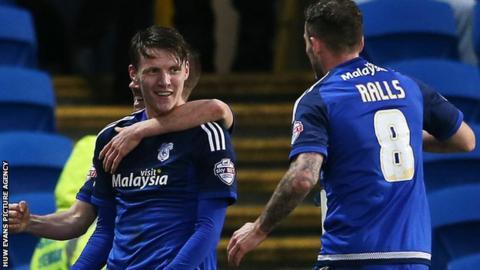 Cardiff striker Joe Mason celebrates his goal against Blackburn