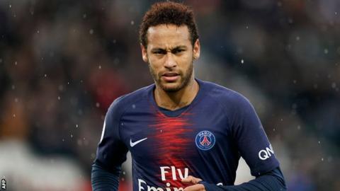 Neymar playing for Paris St-Germain