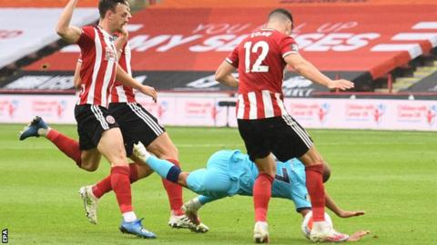 Tottenham had a Harry Kane goal disallowed by VAR against Sheffield United after the ball was adjudged to have brushed Lucas Moura's (in blue) arm as he fell in the build-up