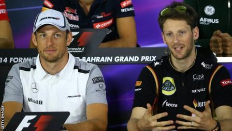 Formula One drivers Romain Grosjean and Jenson Button