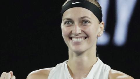 Petra Kvitova celebrates beating Danielle Collins