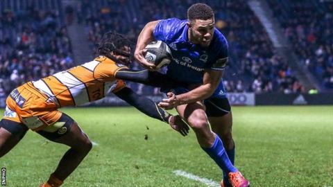 Adam Byrne on the way to scoring Leinster's second try in Friday's win