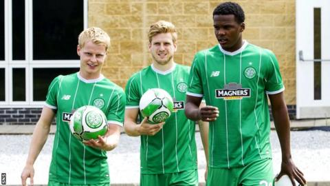 Celtic players Gary Mackay-Steven, Stuart Armstrong and Dedryck Boyata