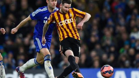 Mark Yeates scoring for Bradford against Chelsea in the FA Cup fourth round in 2015