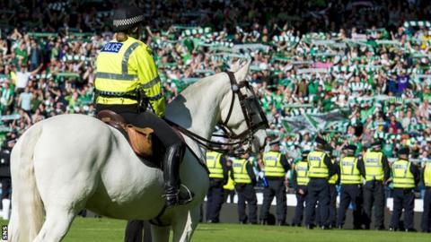 A police horse at Hampden Park