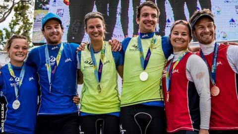 The podium for the Nacra17 class at the Sailing World Cup